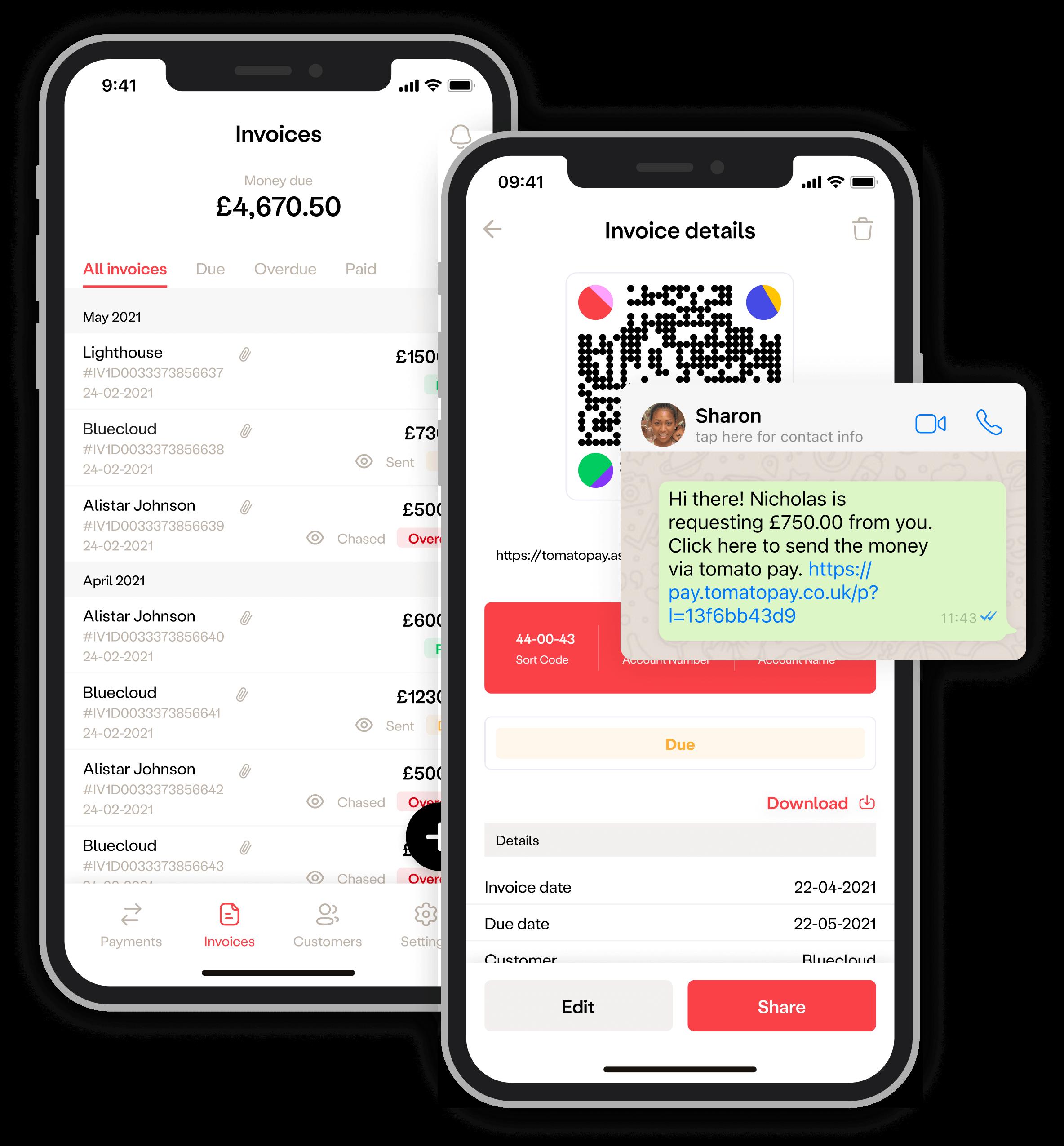 tomato pay invoice app