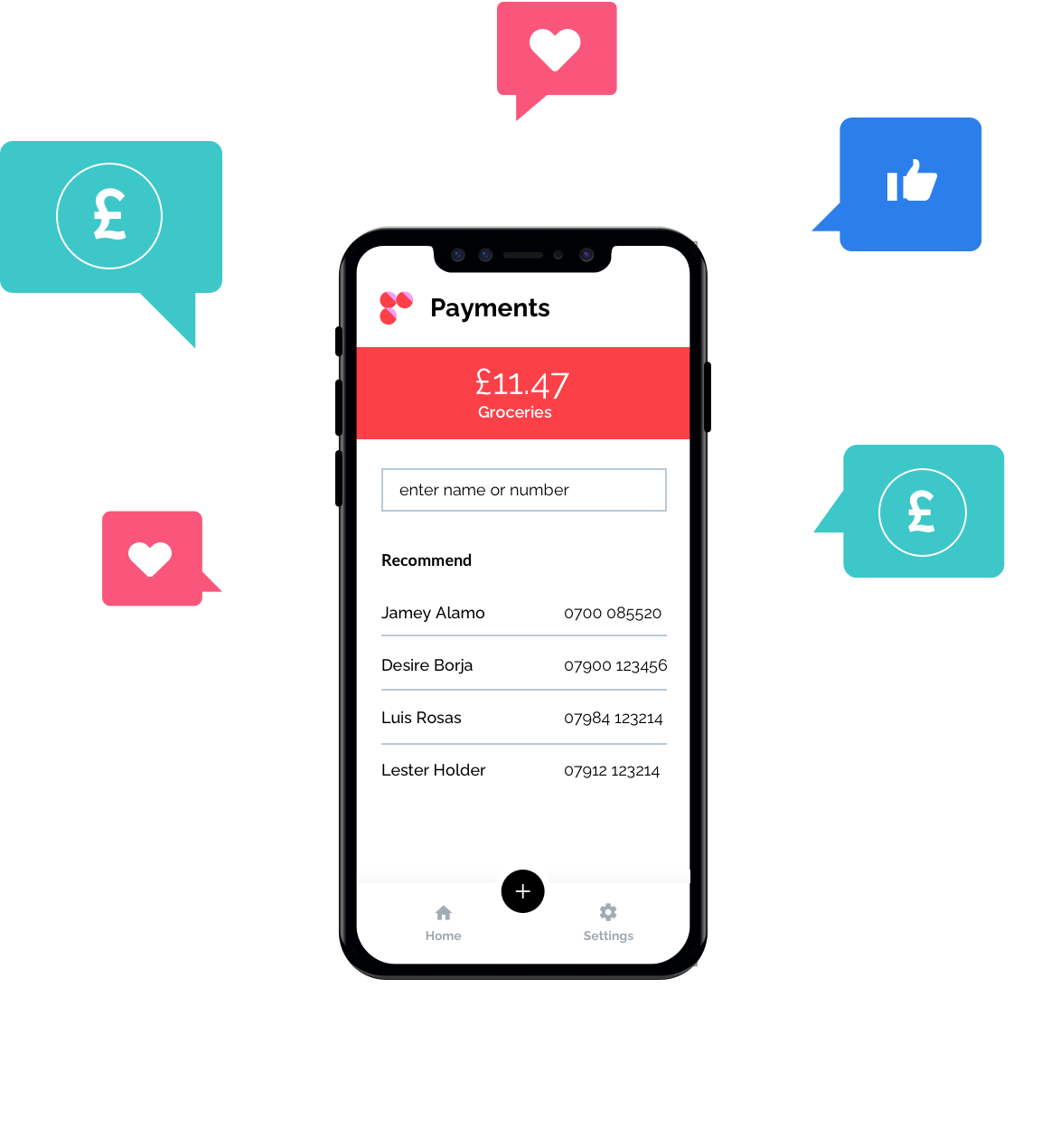 tomato pay App with Speech Bubbles